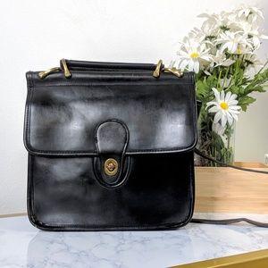 Vintage Genuine Leather Black Crossbody Satchel